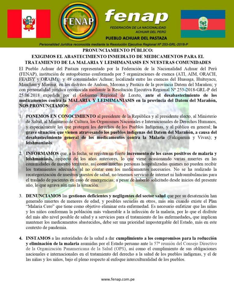 PRONUNCIAMIENTO_PUBLICO_EXIGIMOS_EL_ABASTECIMIENTO_INMEDIATO_DE_MEDICAMENTOS_PARA_LA MALARIA_LEISHMANIASIS_EN_NUESTRAS_COMUNIDADES_page-0001