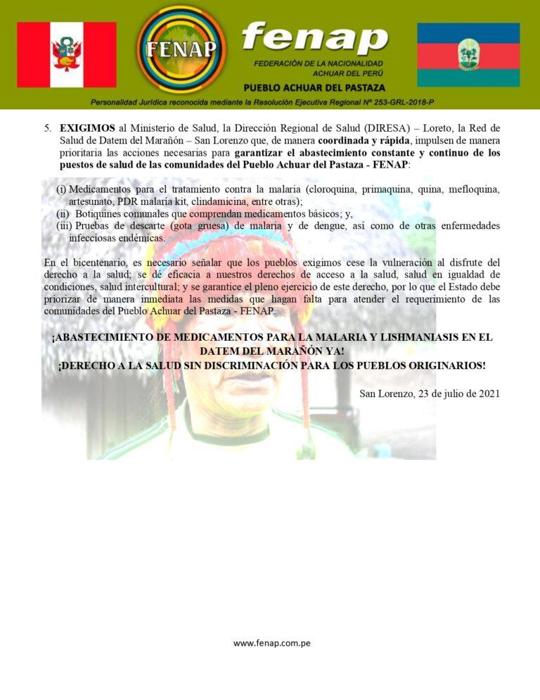 PRONUNCIAMIENTO_PUBLICO_EXIGIMOS_EL_ABASTECIMIENTO_INMEDIATO_DE_MEDICAMENTOS_PARA_LA MALARIA_LEISHMANIASIS_EN_NUESTRAS_COMUNIDADES_page-0002